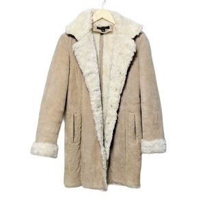 STATIC Penny Lane Suede Faux Fur Coat S